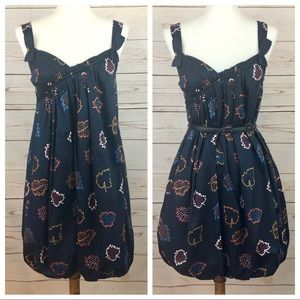 Marc Jacobs Mod Navy Leaf Print Bubble Dress